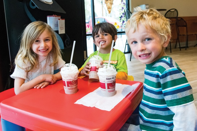 Spending an evening at Coldstone Creamery, Rylee, left, Gage and Garrett Suckey enjoy some treats to help support the Emily Reiss fundraiser. (Sydney Warner/Montrose Daily Press)